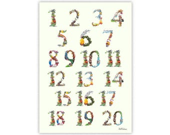 1-20 Number Learning Chart signed  art print - Counting - Learn to Count -Fairy tale numbers - Great for children's bedroom and nursery