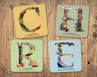 Set of Four Personalised Alphabet Coasters - Great Gift for a Family Initial Letters A-Z Hand Printed Coasters - Personalised Gift Idea