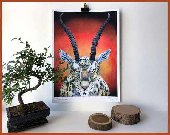 Acin Azella Limited Edition Print Part 2 of The Hunter and the Hunted Cheetah Gazelle Animal Art Print