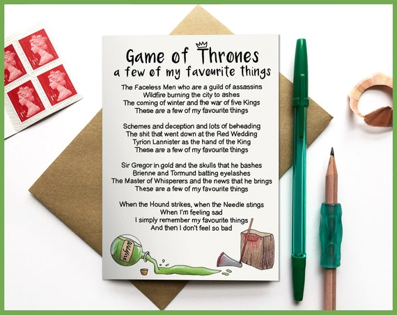 Game of Thrones - A Few of My Favourite Things Greetings Card