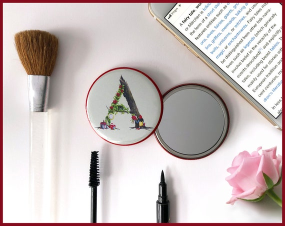 Letter A - Z Pocket Mirror - Alphabet Letters. Name Mirror. Handbag Mirror, compact Mirror, Stocking Filler Initial Gift, Secret Santa