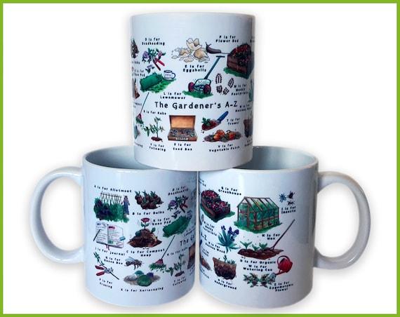 Gardeners A-Z Ceramic Mug, Gardening Gift, Gift for Mom, Garden, Gift for Her, Gift for Him, Mug, Mothers Day Gift, Mens Gift, Coffee Mug