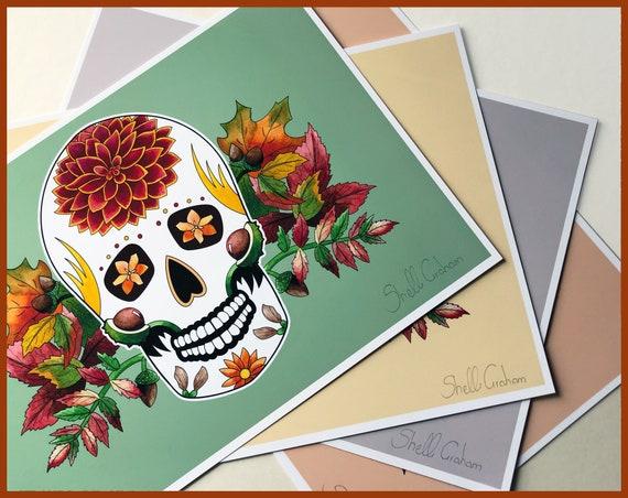 'Autumn' Sugar Skull Signed Fine Art Print
