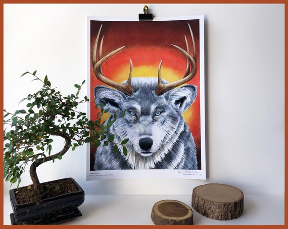 Canis Cervidae Limited Edition Print Part 6 of The Hunter and the Hunted Wolf and Deer Animal Portrait Stag Antlers