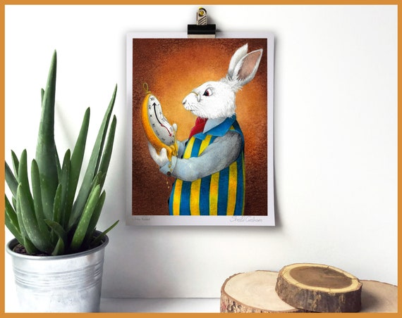 White Rabbit Signed Fine Art Print