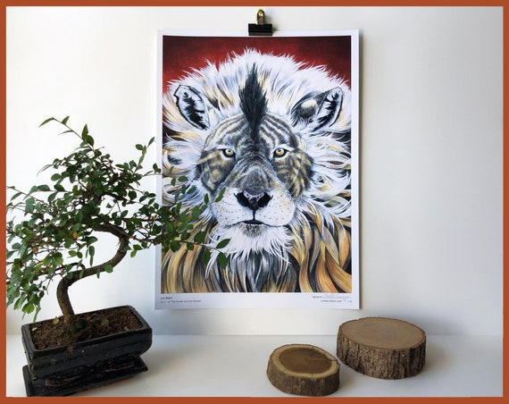 Leo Equus Limited Edition Print Part 1 of The Hunter and the Hunted Lion and Zebra Animal Portrait