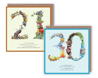 21st and 30th Birthday Card, Birthday cards, 21st card Birthday card 21 30 - Number 21 Card, Number 30 Card Age Cards 30th Anniversary Card