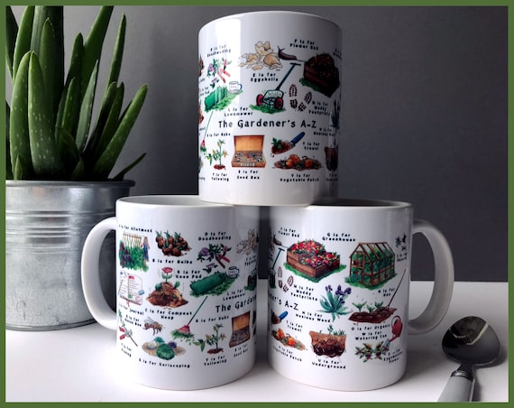 Gardeners A-Z Ceramic Mug, Gardening Gift, Gift for Mom, Garden, Gift for Her, Gift for Him, Mug, Mothers Day Gift, Mens Gift, Coffee Mug