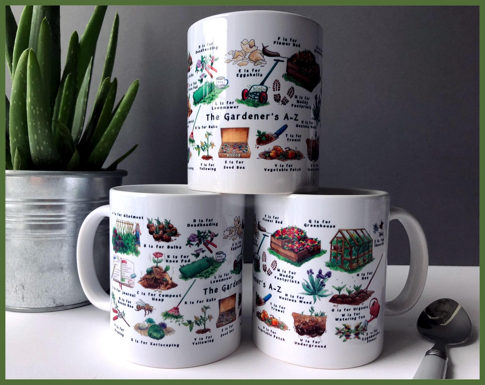 Gardeners A-Z Ceramic Mug, Gardening Gift, Gift for Mom