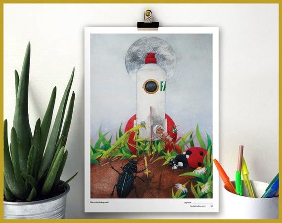 Life in the Undergrowth Signed Limited Edition Print of 50 - Bugs in Space! Art for Boys - Bug Print - Insect Print - Boys Bedroom Mantis