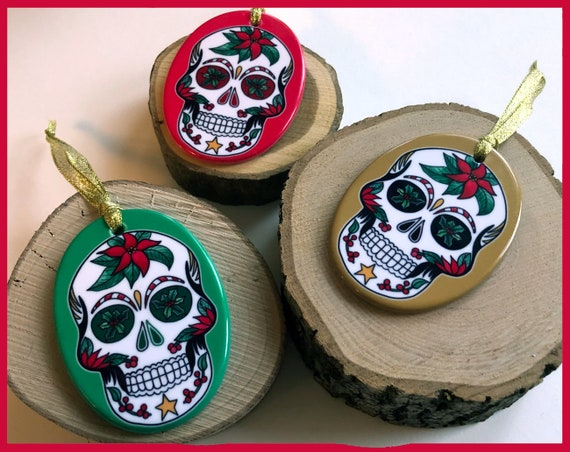 Ceramic Christmas Sugar Skull Tree Ornaments