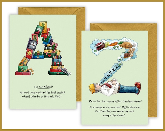 Alphabet Letter Christmas Cards Name Initial Personalised , Cards for Children, Christmas cards for every member of the family, xmas card