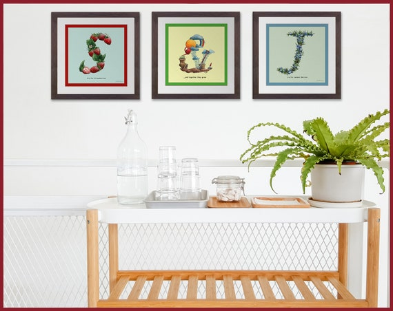 Set of Three Fruit and Vegetable Alphabet Prints - & symbol included