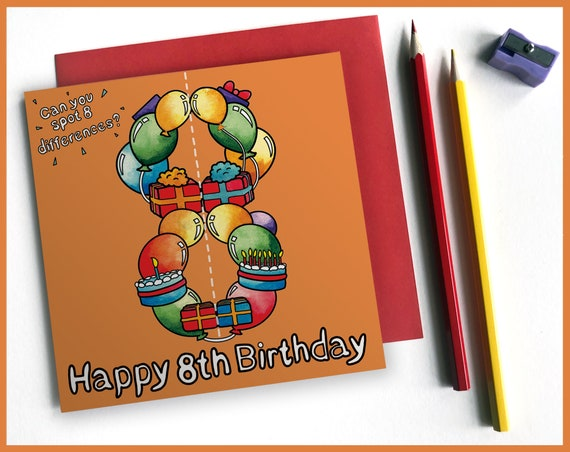 8th Birthday Activity Card