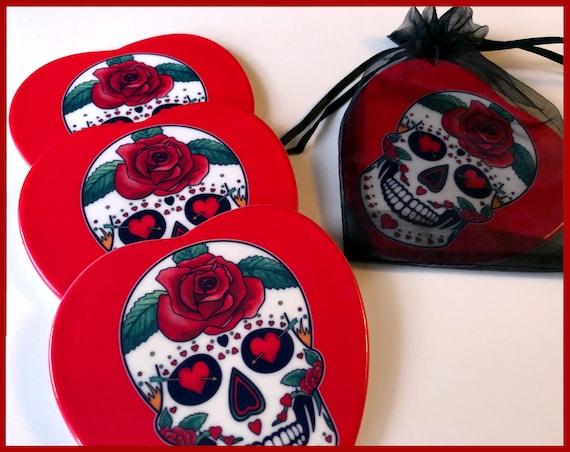 Valentine's Day Sugar Skull Ceramic Coaster