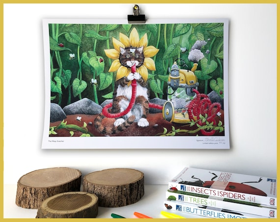 The Wasp Snatcher - Signed Limited Edition print of 50 Steampunk Cat wearing a sunflower, Cat Print, Cat Lover, Cat Gift, Tabby Cat, Cat Art