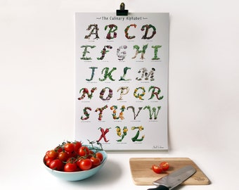 A-Z signed Alphabet Wall Art Kitchen Print - Fruit and Vegetable Font - Great for Foodies, Cooks & Gardeners, Kitchen Decor and Dining Room