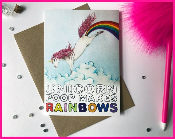 Unicorn Poop Makes Rainbows! Greeting Card