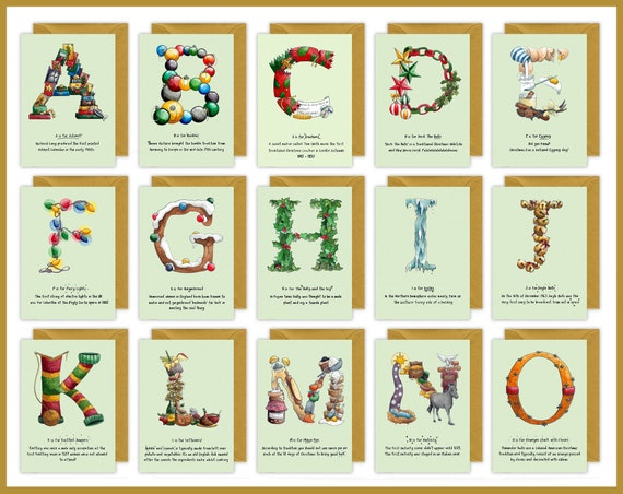Pack of 5 / Pack of 10 Alphabet Letter Christmas Cards - Choose your own letters - Personalised Christmas Cards for each family member