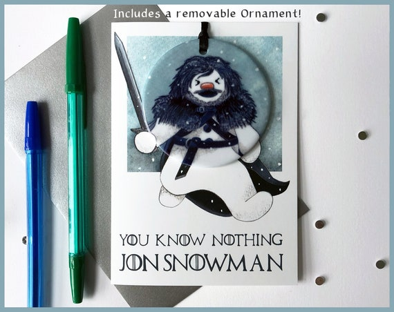 Game of Thrones Christmas Tree Ornament Christmas Card  Removable Keepsake Tree Decoration - You Know Nothing Jon Snowman -  Jon Snow