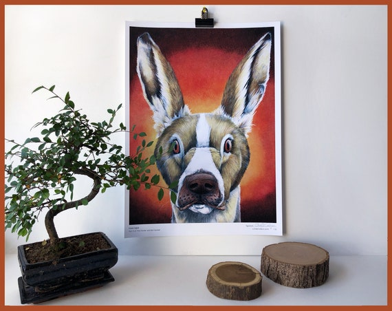 Canis Lepus Limited Edition Print Part 4 of The Hunter and the Hunted Hare and Beagle Dog Animal Portrait Rabbit