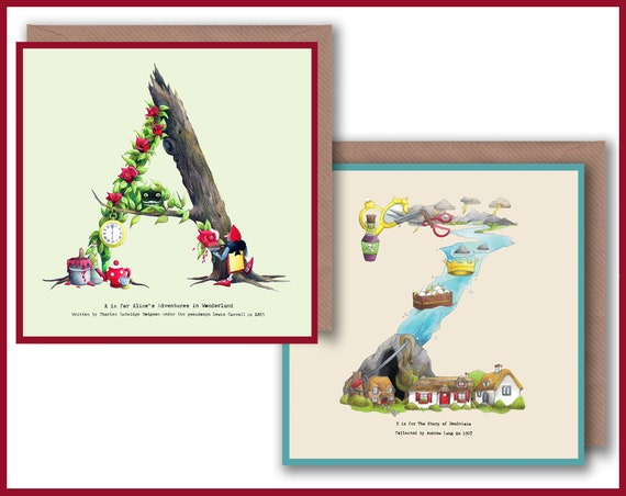 A - Z Alphabet Letter Greeting Cards inspired by Fairytales