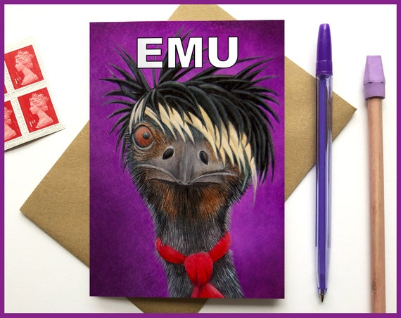 Emu Illustration - Blank Greeting Card