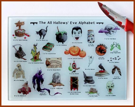 The All Hallows' Eve Alphabet Glass Cutting Board