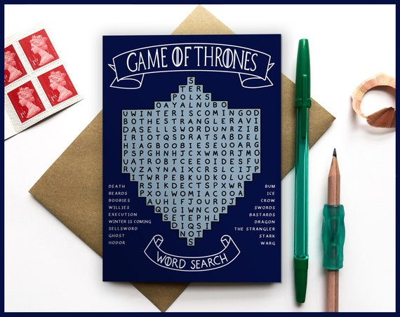 Word Search Game of Thrones Card