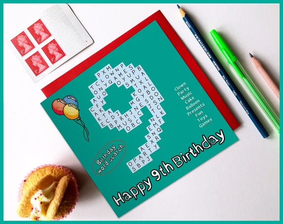 9th Birthday Activity Card