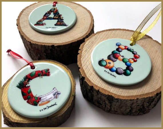 A-Z Ceramic Christmas Tree Ornaments