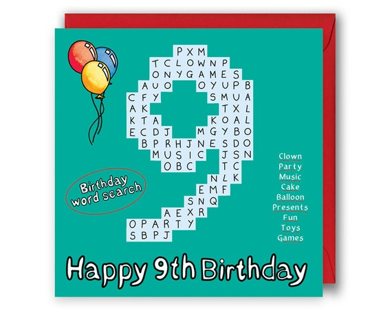 9th Word Search Birthday Card 9th Birthday Number Card Etsy
