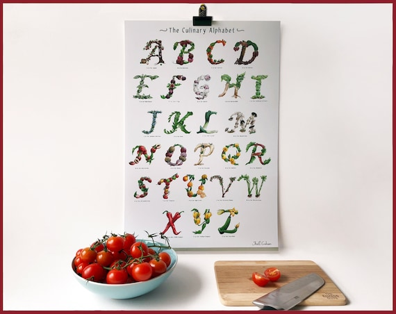 A-Z signed Alphabet Wall Art Kitchen Print - Fruit and Vegetable Font - Great for Foodies, Vegans, Vegetarians, Kitchen Decor / Dining Room