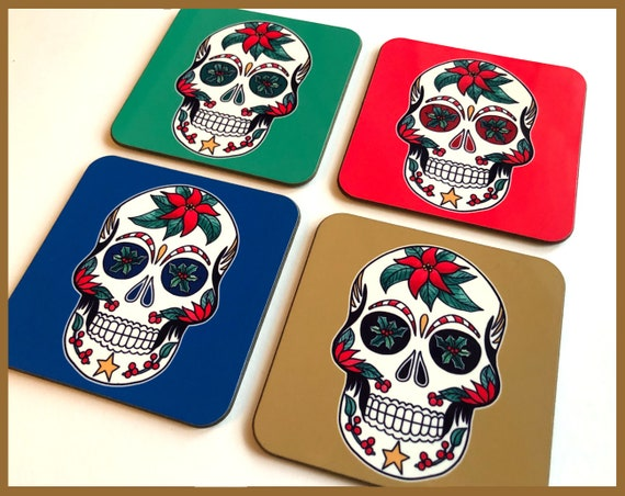 Christmas Sugar Skull Coaster