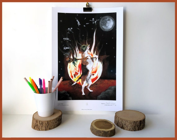 Xolotl's Deed (dancing skull dog) Signed Limited Edition Print of 20 Fantasy Gothic Artwork