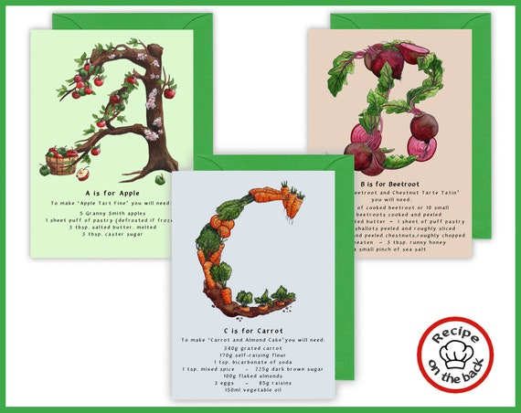 A-Z Fruits and Vegetables Recipe Greeting Cards