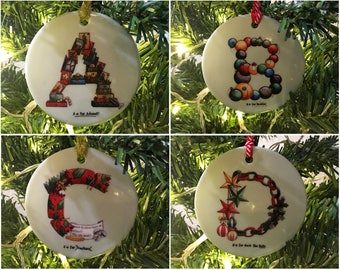 A-Z personalised Christmas Tree Ornament. Handprinted Ceramic Ornament - Christmas Gift Idea for Children Christmas Tree Decoration Initial