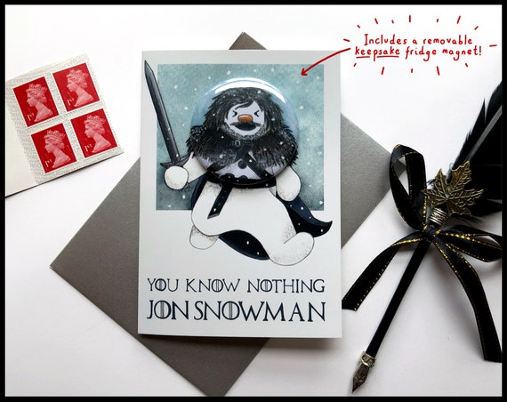 Game of Thrones Magnet Christmas Card with Removable Keepsake Fridge Magnet