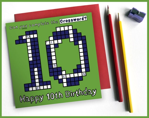 10th Birthday Activity Card