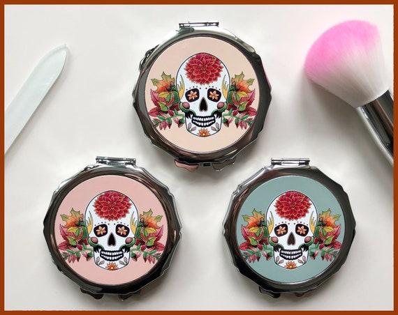 Autumn Sugar Skull Compact Mirror