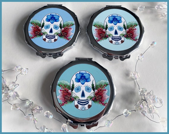 'Winter' Sugar Skull Compact Mirror