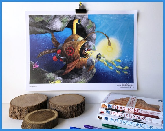 The Sea Snatcher - Signed Limited Edition print of 50. Steampunk Cat!