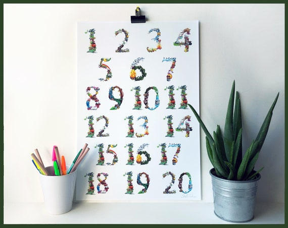 1-20 Number Learning Chart signed  art print - Counting - Learn to Count -Fairy tale numbers - Children's bedroom and nursery Number chart
