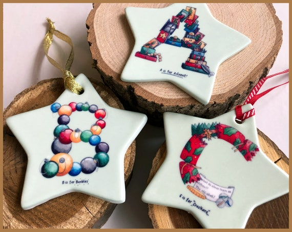 A-Z Christmas Tree Ornaments.  Ceramic Ornament for the Christmas Tree - Alphabet Decoration, Gift for Children and New Baby Ornament
