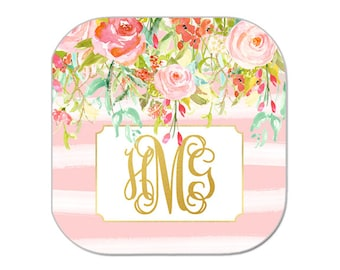 Personalized Gift Idea-Preppy Beverage Coasters-Monogram-Personalized-Floral and Gold Coasters