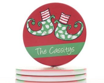 Christmas Coaster - Elf Feet Christmas Coaster - Personalized Christmas Decor - Set of 4 Christmas Coasters - Beverage Coaster