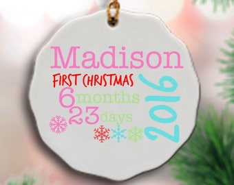 Baby's 1st Christmas Ornament - Personalized Baby's First Christmas Ornament - My First Christmas - Christmas Ornament for Baby