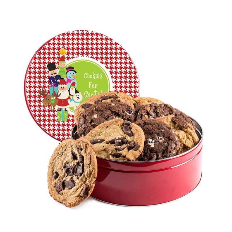 Snowman Santa Cookie Tin Christmas Cookie Tin Baked Cookie Tin Round Cookie Tin Santa And Friends Red Houndstooth Container