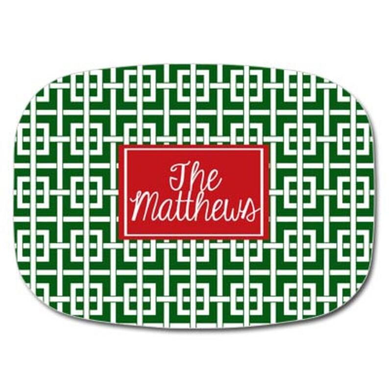 Melamine Christmas Platters.Christmas Serving Platter Melamine Christmas Platter Personalized Christmas Platter Green And White Greek Key Name Platter