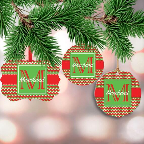 Custom Christmas Ornaments.Family Christmas Ornament Custom Christmas Ornaments Personalized Initial Ornament Red And Green Chevron Ornament Last Name Ornament